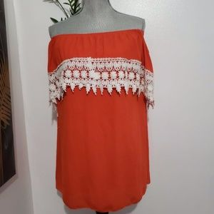 FASCINATION orange off the shoulder blouse L